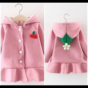 NWT Pink Ruffle Bottom Warm Hoodie Coats